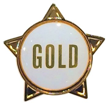 GOLD (text) star badge